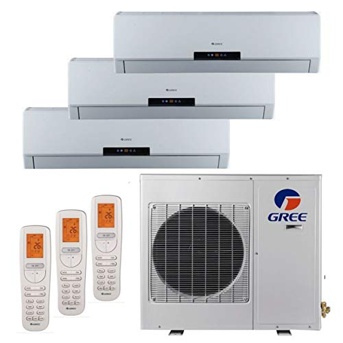 Gree MULTI24BNeo301-24,000 BTU +Multi Tri-Zone Wall Mount Mini Split A/C Heat Pump 208-230V (9-9-12) (A/C & Heater) (Air Zone 3 Conditioner Split)