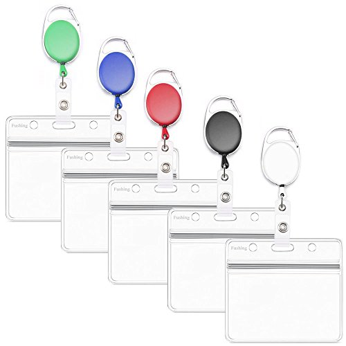 Fushing 5PCS Horizontal ID Badge Holders PVC Card Holders with Retractable Badge Carabiner Reel Clips Badge Reels (Multicolor)