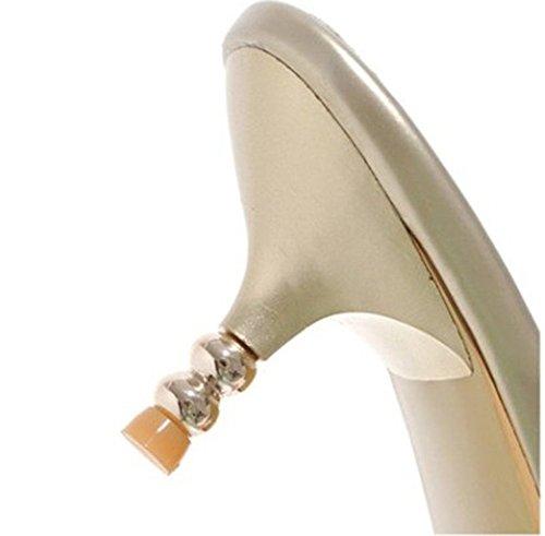 Easemax Dames Sexy Uitsparing Mid Stiletto Hak Open Teen Slip Op Dia Sandalen Met Strass Goud