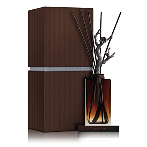 Chando Porcelain Wood Reed Oil Diffuser Black and Brown (Golden Amber) by CHANDO