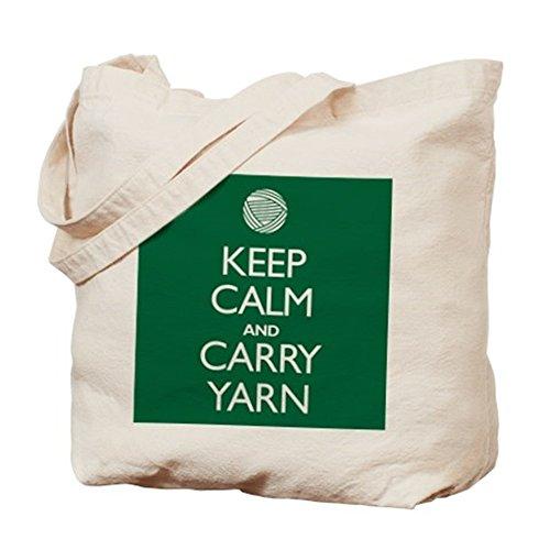 Cafepress–verde Keep Calm and Carry Yarn–Borsa di tela naturale, tessuto in iuta
