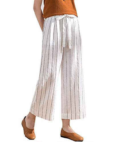 IXIMO Women's Wide Leg Pants 100% Linen Striped Capri Trousers Drawstring Back Elastic Waist Palazzo Pants White S ()