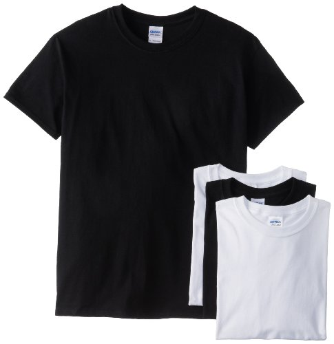 Black Short Sleeve Economy Shirt (Gildan Men's Short Sleeve 4-Pack Cotton Jersey T-Shirt, White/Black, Large)
