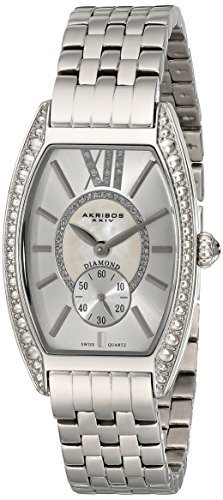 Akribos XXIV Women's AKR470SS Diamond Swiss Quartz Tourneau Bracelet Strap Watch by Akribos XXIV -  102548