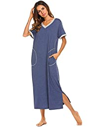 Ekouaer Women's Long Nightgown Short Sleeve Pajama Nightshirts Sleepwear with Pockets