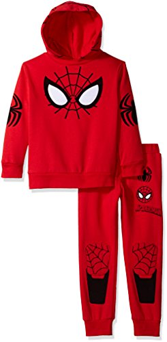 Marvel Little Boys' 2 Piece Spiderman Costume Hoodie and Pant Set, Red, 7 - Red Spider Man Costumes