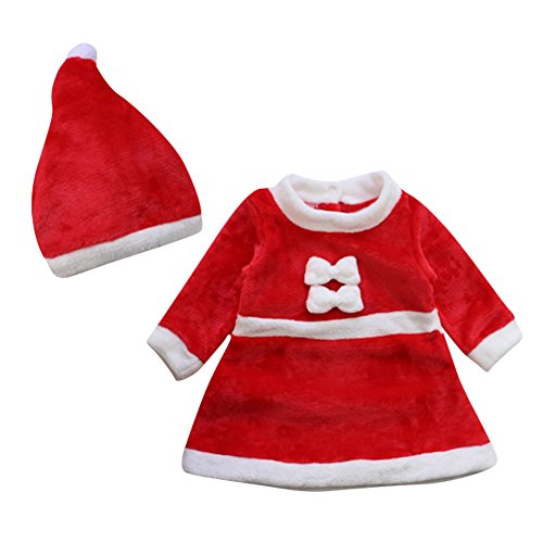 Lestore Winter Baby Christmas Cosplay Dress Newborn Costume Outfit Hat 2pcs (0-6 Months)]()