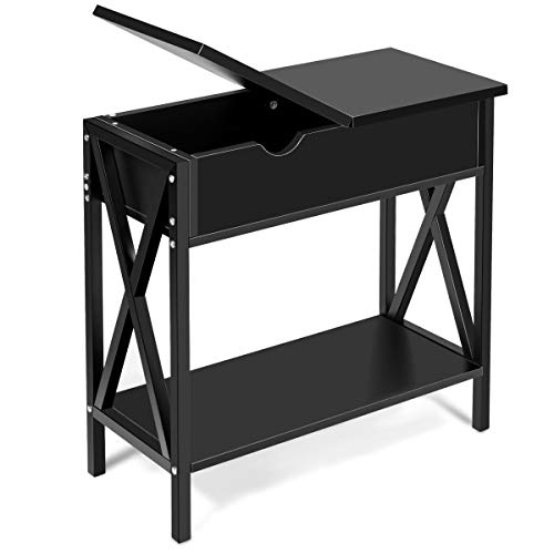 Giantex Console Table W/Flip Top, Shelf and Hidden Hinged Storage for Entryway Hallway, Living Room, Office and Bedroom, Multifunctional Usage Accent Corner Couch Sofa Side Table End Table (Black) (Couch Corner Storage)