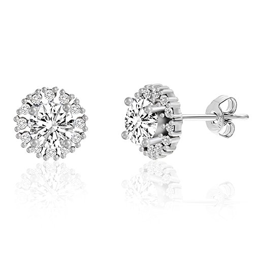 [18K White Gold Over Sterling Silver Cubic Zirconia Halo 10mm Post Earring] (Red Skull Costume Uk)
