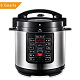 BILACA Electric Pressure Cooker 6 Quart 9-in-1 Multi-Use Programmable Pressure Cooker, Slow Cooker, Rice Cooker, Steamer, Yogurt Maker, Sauté and Warmer Includes Healthy Recipe Cookbook and Steam Rack