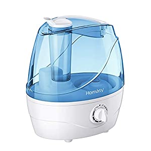 Homasy Cool Mist Humidifiers, Quiet Ultrasonic Humidifiers for Bedroom Baby, Easy to Clean Air Humidifier, Last Up to 24 Hours, Auto Shut-Off, Adjustable Mist Output