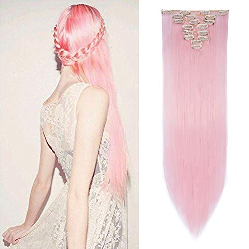 8PCS Clip in Hair Extensions Straight Wavy Curly Full Head Women Colorful Highlight Ombre Hairpiece -26
