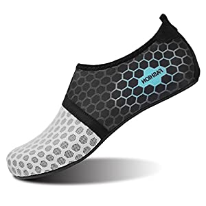 L-RUN Womens Water Shoes Aqua Socks For Beach Dot Grey L(W:8.5-9,M:6-6.5) M US