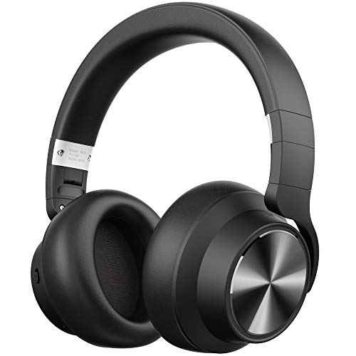 LETSCOM Hybrid Active Noise Cancelling Headphones, Bluetooth Headphones Over Ear with CVC 6.0 Microphone/Deep Bass Wireless &Wired Headset, 30 Hours Playtime for Cell Phones PC Home Office-Black