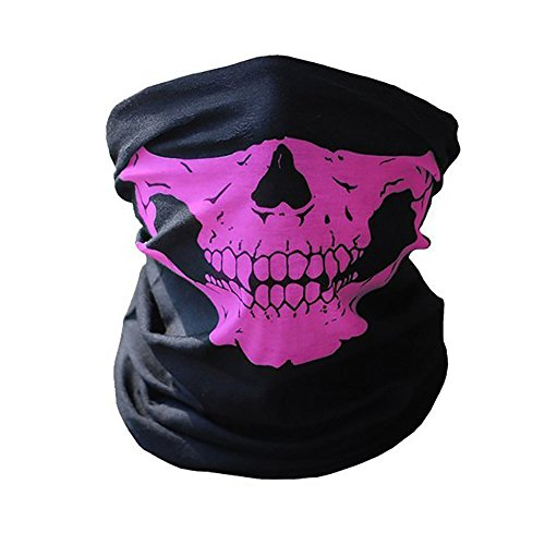lsvtrUS Motorcycle Face Masks, Pink Seamless Skull Face Tube Mask, Ghosts Balaclava Half Face for Halloween Cosplay Party Outdoor Cycling Hiking Skiing Camping