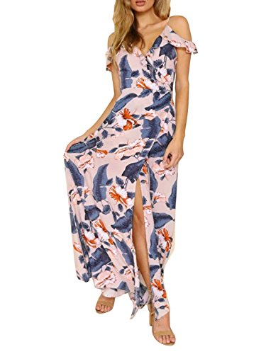 Wrap Floral Chiffon (Simplee Sexy V Neck Sleeveless Wrap Dress Summer Chiffon Floral Print Maxi Dress)