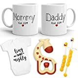 2019 Est Pregnancy Gift - New Mommy and Daddy Est 2019 11 oz Mug Heart Set with'Tiny & Mighty' Baby Romper (0-3 Months) - Top Mom and Dad Gift Set for New and Expecting Parents to Be - Baby Shower