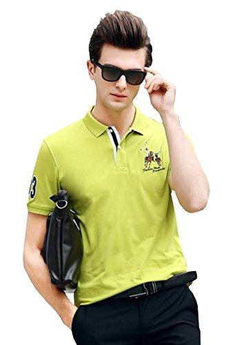 PuHao (プハオ) メンズ ポロシャツ 半袖 夏 カジュアル スポーツウェア ゴルフウェア シンプル 通気性 薄手 吸汗 polo ファッション カッコイイ Tシャツ (グリーン11, M)