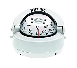 Ritchie Explorer Compass Dial with Surface Mount and 12V Green Night Lighting (White)