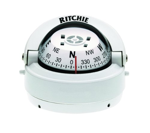 Ritchie Explorer Compass Dial With Surface Mount And 12V Green Night Lighting (White, 2 3/4-Inch) (Marine Boat Compass)