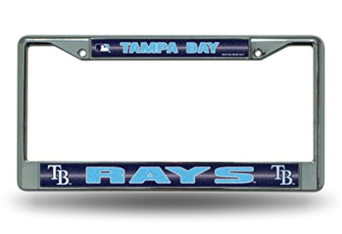 MLB Tampa Bay Rays Bling License Plate Frame, Chrome, 12 x 6-Inch - Chr Plate