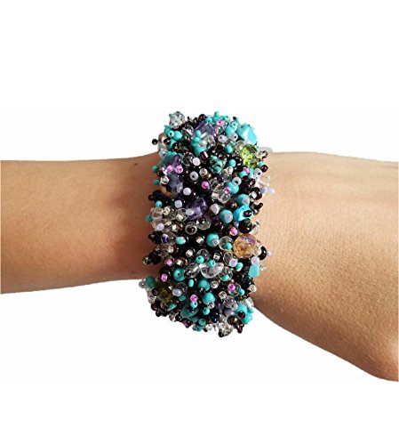 Handmade Gemstone, Crystal, Glass, Seed and Plastic Beaded Fashion Bracelet (Turquoise-Amber-Black-Pink)