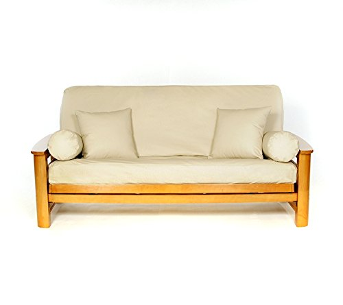 lscovers LLBUFFF-OB Lifestyle Ll Buff Full Futon Cover, Beige/Faux Leather ()