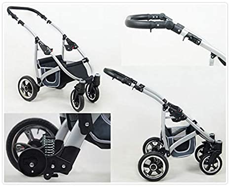 Lux4Kids 3 in 1 Combi pram Pushchair Stroller Complete Set with car seat Isofix Larmax Black /& Beige 3in1 with Baby seat
