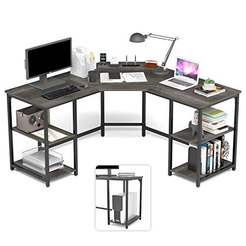 Elephance Large L-Shaped Desk with Shelves, Computer Corner Desk, Home Office Writing Workstation, Gaming Desk PC Laptop Table with Storage (56.9 Inch, Teak)
