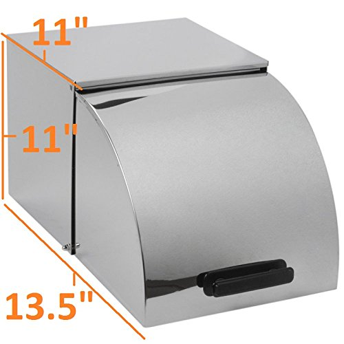 Roll Top Cover for Full-Size Steam Table Pan, Metal, 15.5'' x 14.3'' x 14.2'', Stainless Steel, Commercial (Roll Top Lid)