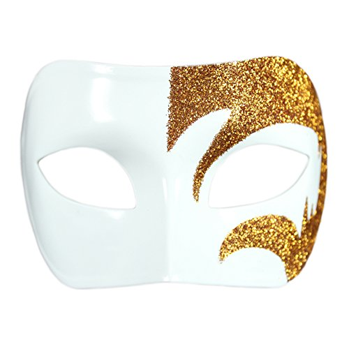 Mystic Gold Glitter & White Venetian Masquerade Mask ~ Mardi Gras Prom Party