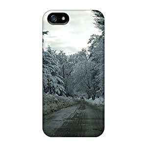 StellaWKeller JhPXuTb1253sDiCS Case For Iphone 5/5s With Nice Winter Season Snow Forest Cars Roads Appearance