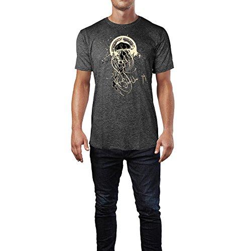 SINUS ART ® Qualle im Street Style Herren T-Shirts in dunkelgrau Fun Shirt mit tollen Aufdruck