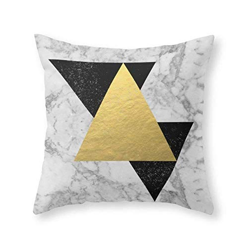 (CANCA Marble Tri Black & Gold Custom Throw Pillow Cover Cotton Decorative Pillow Case Home Sofa Cushion Cover, Square Design (16x16 inch))