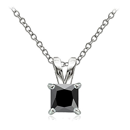 Hoops & Loops Sterling Silver 1.25ct Black Cubic Zirconia 6mm Square Solitaire Necklace