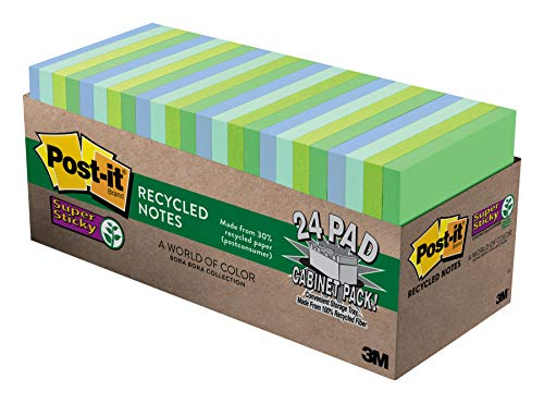 - Post-it Recycled Super Sticky Notes, 2x Sticking Power, 3 in x 3 in, Bora Bora Collection, 24 Pads/Pack (654-24SST-CP)