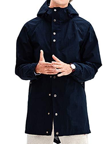 (Mens Lined Rain Slicker with Hood NavyBlueWaterproofJacket Navy Blue XL)