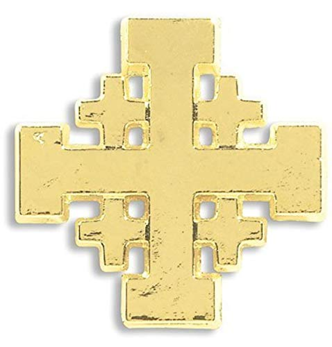 CB Religious Christian Mens Womens Gift 3/4 Inch Gold Tone Jerusalem Crusaders Cross Lapel Pin Fashion Accessory -
