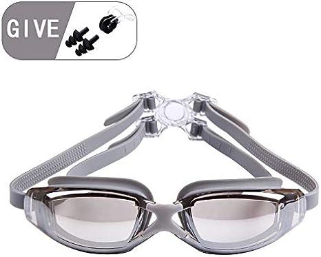 FS Gafas De Natación, contra La Niebla Gafas De Natación De Cristal Panorámica De 180 ° De Visión Reflejada con Un 100% De Protección UV Revestimiento De Tapón De Protección For Adultos Y Niños