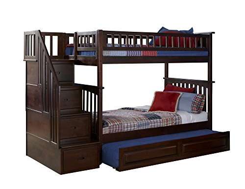 Antique Walnut Bunk Bed (Columbia Staircase Bunk Bed with Trundle Bed, Twin Over Twin, Antique Walnut)