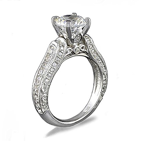 Simulated Ring Diamond Designer (Venetia Top Grade Realistic Hearts and Arrows Cut 2 Carat Simulated Diamond Ring Victorian Designer Pave Anniversary Engagement Promise cubic zirconia cz sou7)