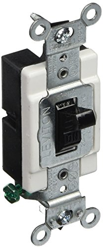 Leviton CS120-2E 20-Amp, 120/277-Volt, Toggle Single-Pole AC Quiet Switch, Commercial Grade, Grounding, (Switch Black 20 Amp)