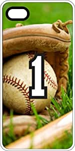 Baseball Sports Fan Player Number 1 White Rubber Decorative iPhone 5/5s Case