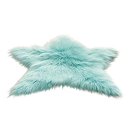 FTXJ Foot Carpet Blanket Pentagram Floor mat Non Slip Rug Mats Hairy Soft Fluffy Faux Fur Carpet Mat Home (60CM, Light Blue) ()