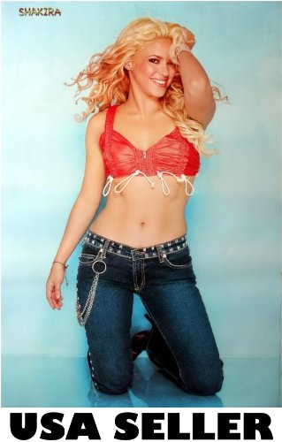 Shakira sexy midriff POSTER 23.5 x 34 Latin singer diva recent matte (sent FROM USA in PVC -