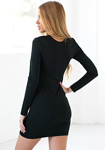 Look portatil Store® Mujer Negro de manga larga, ajustado vestido de encaje zusammengeschnürtes Mini vestido Monótono