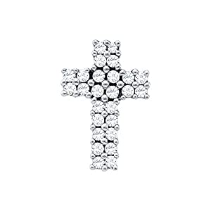 Diamond Pendant 14kt White Gold Cross 1/3 Cttw(I2/i3, i/j)