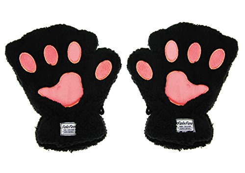 Bear Hands Mittens (Girls Women Plush Bear Claw Cat Paw Fingerless Glove Soft Warm Winter Mittens,)