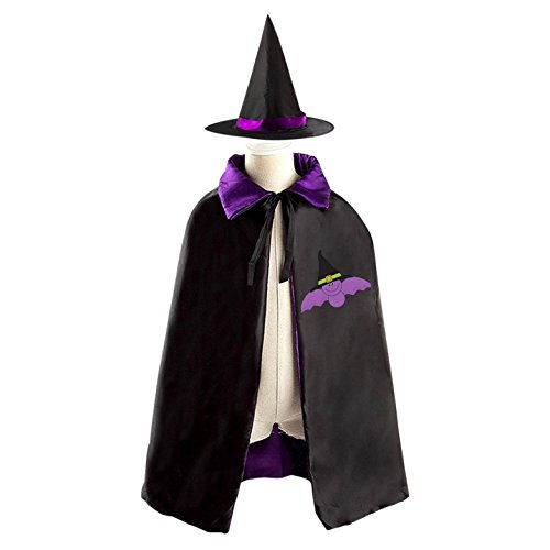 3 Person Matching Costumes (Purple Bat Wearing Witches Hat Deluxe Unisex Kids Halloween Reversible Costumes Cloak Cape With Witch Hat)