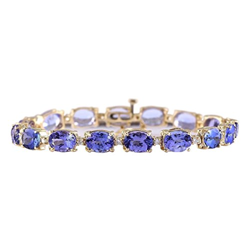 29.5 Carat Natural Blue Tanzanite and Diamond (F-G Color, VS1-VS2 Clarity) 14K Yellow Gold Luxury Tennis Bracelet for Women Exclusively Handcrafted in USA 14k Yellow Gold Tanzanite Bracelet